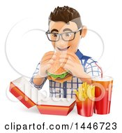 Clipart Of A 3d Caucasian Teenage Guy Eating A Cheeseburger And Fries On A White Background Royalty Free Illustration