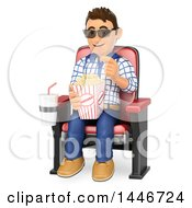 Clipart Of A 3d Caucasian Teenage Guy Eating Popcorn At The Movies On A White Background Royalty Free Illustration