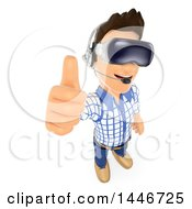 Clipart Of A 3d Caucasian Teenage Guy Holding Up A Thumb And Wearing Virtual Reality Glasses On A White Background Royalty Free Illustration