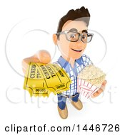 Clipart Of A 3d Caucasian Teenage Guy Holding Up Movie Tickets And A Bucket Of Popcorn On A White Background Royalty Free Illustration
