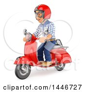 Clipart Of A 3d Caucasian Teenage Guy Riding A Scooter On A White Background Royalty Free Illustration