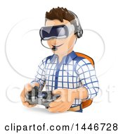 Clipart Of A 3d Caucasian Teenage Guy Wearing Vitual Reality Glasses And Playing A Video Game On A White Background Royalty Free Illustration