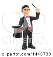 Clipart Of A 3d Male Magician Holding A Hat And Wand On A White Background Royalty Free Illustration