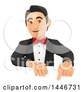 Clipart Of A 3d Man In A Tuxedo Pointing Down Over A Sign On A White Background Royalty Free Illustration