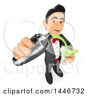 Poster, Art Print Of 3d Man In A Tuxedo Pouring A Cocktail On A White Background