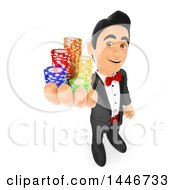 Clipart Of A 3d Man In A Tuxedo Holding Up Poker Chips On A White Background Royalty Free Illustration by Texelart