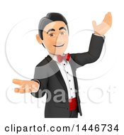 Clipart Of A 3d Man In A Tuxedo Presenting On A White Background Royalty Free Illustration
