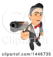 Clipart Of A 3d Man In A Tuxedo Pointing A Gun On A White Background Royalty Free Illustration