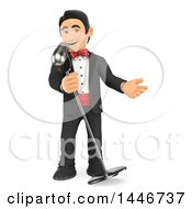 Clipart Of A 3d Man In A Tuxdo Singing Into A Microphone On A White Background Royalty Free Illustration