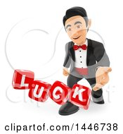 Clipart Of A 3d Man In A Tuxdo Rolling Luck Dice On A White Background Royalty Free Illustration