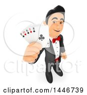 Clipart Of A 3d Man In A Tuxdo Holding Up Poker Playing Cards On A White Background Royalty Free Illustration