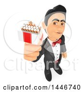 Clipart Of A 3d Man In A Tuxdo Offering Cigarettes On A White Background Royalty Free Illustration