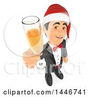 Poster, Art Print Of 3d Man In A Tuxdo Toasting With Champagne At A Christmas Party On A White Background