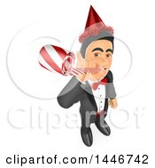Clipart Of A 3d Man In A Tuxdo And Party Hat Blowing A Noise Maker On A White Background Royalty Free Illustration