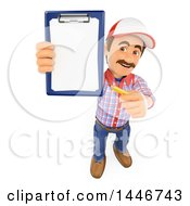 3d Caucasian Worker Handy Man Holding Up A Pencil And Clipboard On A White Background