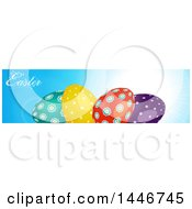 Banner Of Colorful Patterned Easter Eggs And Text Over A Sunny Sky