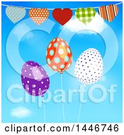 Heart Bunting Banner Over Patterned Easter Egg Balloons Against Sky