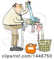 Poster, Art Print Of Cartoon Chubby White Man Doing Laundry