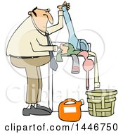 Clipart Of A Cartoon Chubby White Man Doing Laundry Royalty Free Vector Illustration