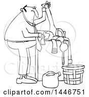 Clipart Of A Cartoon Black And White Lineart Chubby Man Doing Laundry Royalty Free Vector Illustration