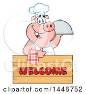 Cartoon Clipart Of A Chef Pig Giving A Thumb Up And Holding A Cloche Platter Over A Welcome Sign Royalty Free Vector Illustration by Hit Toon