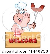Poster, Art Print Of Chef Pig Giving A Thumb Up And Holding A Sausage Over A Welcome Sign