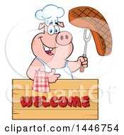 Cartoon Clipart Of A Chef Pig Giving A Thumb Up And Holding A Steak Over A Welcome Sign Royalty Free Vector Illustration by Hit Toon