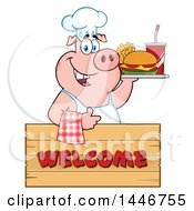 Cartoon Clipart Of A Chef Pig Giving A Thumb Up And Holding A Cheeseburger Fries And Soda On A Tray Over A Welcome Sign Royalty Free Vector Illustration by Hit Toon
