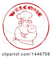 Poster, Art Print Of Red Lineart Winking Chef Pig Wearing A Bandana And Toque Hat In A Circle With Welcome Text