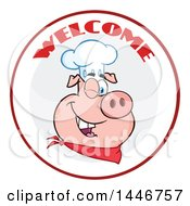 Cartoon Clipart Of A Winking Chef Pig Wearing A Bandana And Toque Hat In A Circle With Welcome Text Royalty Free Vector Illustration by Hit Toon