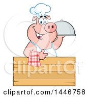 Cartoon Clipart Of A Chef Pig Giving A Thumb Up And Holding A Cloche Platter Over A Blank Wood Sign Royalty Free Vector Illustration by Hit Toon