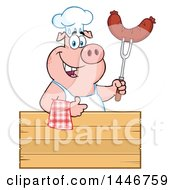 Cartoon Clipart Of A Chef Pig Giving A Thumb Up And Holding A Sausage Over A Blank Sign Royalty Free Vector Illustration by Hit Toon