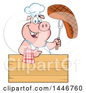 Cartoon Clipart Of A Chef Pig Giving A Thumb Up And Holding A Steak Over A Blank Wood Sign Royalty Free Vector Illustration
