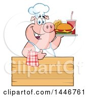Cartoon Clipart Of A Chef Pig Giving A Thumb Up And Holding A Cheeseburger Fries And Soda On A Tray Over A Wood Sign Royalty Free Vector Illustration by Hit Toon