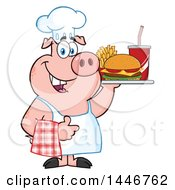 Cartoon Clipart Of A Chef Pig Giving A Thumb Up And Holding A Cheeseburger Fries And Soda On A Tray Royalty Free Vector Illustration by Hit Toon
