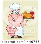 Cartoon Clipart Of A Chef Pig Giving A Thumb Up And Holding A Cheeseburger Fries And Soda On A Tray Over Halftone Royalty Free Vector Illustration by Hit Toon