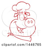 Cartoon Clipart Of A Red And White Lineart Winking Chef Pig Wearing A Bandana And Toque Hat Royalty Free Vector Illustration by Hit Toon