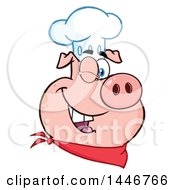 Cartoon Clipart Of A Winking Chef Pig Wearing A Bandana And Toque Hat Royalty Free Vector Illustration by Hit Toon