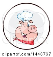 Cartoon Clipart Of A Winking Chef Pig Wearing A Bandana And Toque Hat In A Circle Royalty Free Vector Illustration by Hit Toon