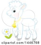 Clipart Of A Cute Sheared Baby Lamb Sheep Royalty Free Vector Illustration
