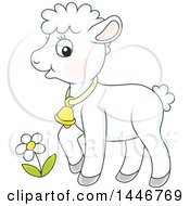 Clipart Of A Cartoon Cute Sheared Baby Lamb Sheep Royalty Free Vector Illustration