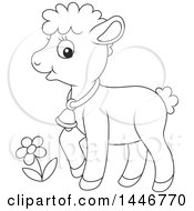 Cartoon Black And White Lineart Cute Sheared Baby Lamb Sheep