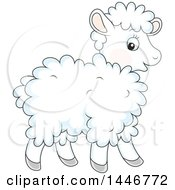 Clipart Of A Cartoon Cute Baby Lamb Sheep Royalty Free Vector Illustration