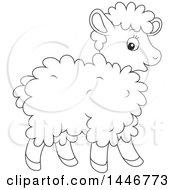 Poster, Art Print Of Cartoon Black And White Lineart Cute Baby Lamb Sheep