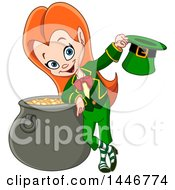 Poster, Art Print Of Cartoon St Patricks Day Red Haired Leprechaun Girl Holding A Hat And Leaning On A Pot Of Gold