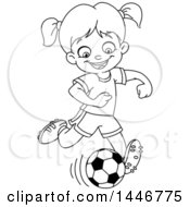 Clipart Of A Cartoon Black And White Lineart Girl Playing Soccer Royalty Free Vector Illustration