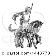 Clipart Of A Black And White Etched Engraved Or Woodcut Fully Armored Medieval Knight On A Horse Holding A Spear Flag Royalty Free Vector Illustration