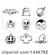 Clipart Of Black And White Watercolor Styled Halloween Icons Royalty Free Vector Illustration by AtStockIllustration