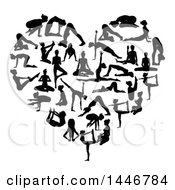 Clipart Of Black Silhouetted Women Doing Yoga And Forming A Heart Royalty Free Vector Illustration by AtStockIllustration