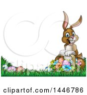 Clipart Of A Cartoon Happy Brown Easter Bunny Rabbit With A Basket And Eggs Royalty Free Vector Illustration